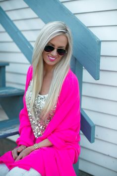Sparkly tank top under a bright cardigan