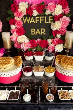 Waffle Bar Ideas and Recipes: A waffle bar is a great buffet idea for breakfast, brunch or dessert! Here are some ideas for setting up your buffet, waffle recipes to serve, and more! Breakfast Table Setting, Breakfast Buffet, Birthday Breakfast, Birthday Brunch, Wedding Breakfast, Birthday Bar, 13th Birthday Parties, Birthday Ideas, Cafeteria Menu