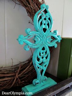 Wooden Cross in CeCe Caldwell Santa Fe Turquoise by DearOlympia, $25.00 | Distressed | Chalk Paint | Cross | Home Decor | CeCe Caldwell Paint