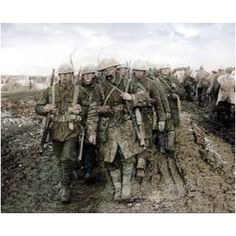 Canadian troops marching to the front. These men had the courage and hearts of lions. WW1. Passchendaele