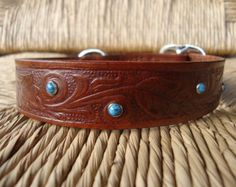 Leather Dog Collar. 1 1/4Bridle Leather Diablo by FourRobins