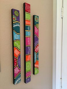 Painted Sticks, Painted Wood, Hand Painted, Peace Pole, Garden Poles, String Quilts, Totem Poles, Craft Day, Group Activities