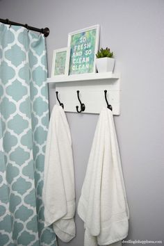 DIY Towel Rack with a Shelf Nice how to on a simple but cute bathroom hook rack and shelf at Dwelling in Happiness! This cool project features our very affordable oil rubbed bronze hooks! Easy Home Decor, Cheap Home Decor, First Apartment Decorating, Apartment Ideas, Decorating Bathrooms, Bathroom Renovations, Couples Apartment, House Renovations, Apartment Design