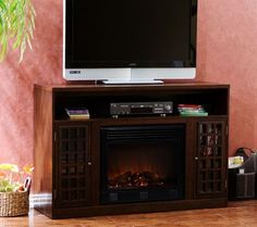 Bergen Espresso-Finish Media Console with Electric Fireplace — QVC.com $570