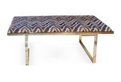"Kelly 51"" Brass Coffee Table, Cognac"