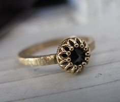 Black Diamond Ring Engagement Ring 14K by HotRoxCustomJewelry