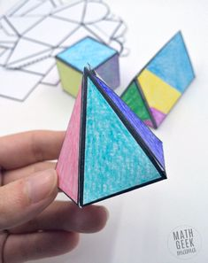 This easy to use printable set of foldable 3D shapes can be used for all sorts of math learning! Plus, let kids get creative and turn it into a math and art lesson in one! 3d Shapes Worksheets, Shapes Worksheet Kindergarten, Free Printable Math Worksheets, Free Printables, Kindergarten Math, 3 Dimensional Shapes, 2d And 3d Shapes, Math Projects, Math Art