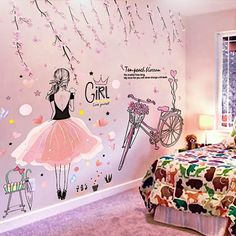 Cartoon Girl Wall Stickers Vinyl DIY Peach Flowers Bicycle Mural Decals for Kids Rooms Baby Bedroom Decoration
