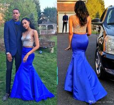 New Sexy Long Two Pieces Prom Dresses 2016 V-neck Sleeveless Royal Blue Mermaid Party Gowns Beads Crystal Red Carpet Dresses Custom Made Online with $110.46/Piece on Cc_bridal's Store | DHgate.com