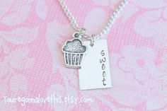 Sweet Cupcake Hand Stamped Necklace by youregonnalovethis on Etsy