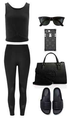 """""""Untitled #27"""" by sofia-blair ❤ liked on Polyvore featuring Gucci, Onzie, Zara, River Island and Ray-Ban"""