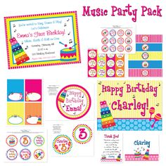 DIY Music Party Package, Hot Pink. $30.00, via Etsy.