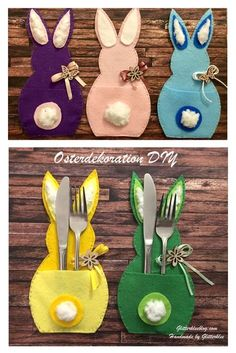 Easter table decoration DIY - Crafts for Easter – this is not only a nice activity, but it also brings anticipation to spring! Easter Party, Easter Gift, Easter Crafts, Bunny Crafts, Diy For Kids, Crafts For Kids, Felt Sheets, Easter Table Decorations, Diy Decoration
