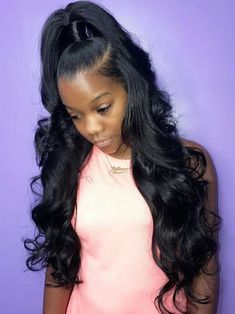8-26 inch Malaysian human hair bundles loose wave hair extensions 100 unprocessed Virgin Human Hair Bundles wefts Natural black for afro women #loosewaveweave #loosewavehair #loose #loosestyles #loosewavecurls #humanhairbundles #curlyhair Weave Ponytail Hairstyles, Easy Hairstyles For Medium Hair, Ponytail Styles, Down Hairstyles, Black Girl Weave Hairstyles, Trending Hairstyles, Toddler Hairstyles, Long Haircuts, Hairstyles Pictures