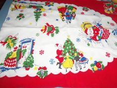 Vintage Runner Table Santa Claus Night Before Christmas sleigh scarce children