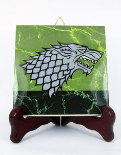 Game of Thrones Ceramic Tile House STARK sigil by TerryTiles2014