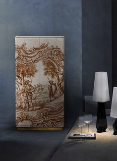 Heritage Sepia Cabinet by Boca do Lobo | Cabinet lined with hand painted tiles. In its interior there is one door and four drawers fully lined with golden leaf. www.bocadolobo.com