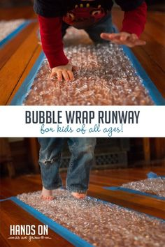 Make a Bubble Wrap Runway for Kids of All Ages - Make a Bubble Wrap Runway for Kids of All Ages How will your kids pop all the bubbles? Set up a bubble wrap runway for a creative movement-based activity your kids will beg to do again and again! Activities For One Year Olds, Nanny Activities, Nursery Activities, Indoor Activities For Toddlers, Toddler Learning Activities, Games For Toddlers, Infant Activities, Preschool Activities, Music Activities For Kids