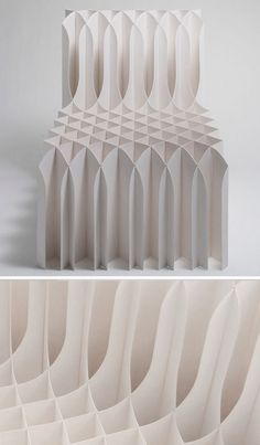 Origami Chair by Koji Sekita design, Japan / Papercraft - Juxtapost Chaise Origami, Origami Chair, Origami Paper, Surface Design, Modern Furniture, Furniture Design, Futuristic Furniture, Plywood Furniture, Paper Structure
