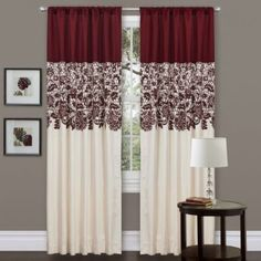 Amazon.com: Lush Decor Estate Garden Curtain Panel, Red: Furniture & Decor