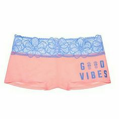 PINK Boyshort Panty Good Vibes Pineapples Brand new! Vibrant peach color with a periwinkle blue lace trim and awesome good vibes print with pineapples. PINK Victoria's Secret Intimates & Sleepwear Panties