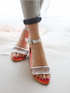 Mesh Low Wedge Sandals