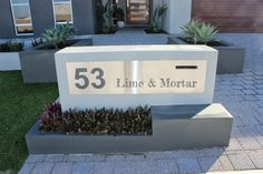 Modern Curbside Mailbox and House Numbers Fence Design, Wall Design, Garden Design, Front House Landscaping, Townhouse Landscaping, Yard Landscaping, Landscaping Ideas, Brick Rendering, Brick Mailbox