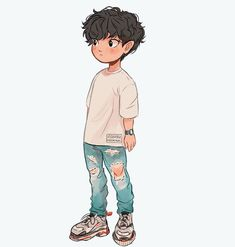 Drawing Ideas Character Design~ By Itslopez Art Drawings Sketches, Cartoon Drawings, Cute Drawings, Cute Boy Drawing, Cute Art Styles, Cartoon Art Styles, Boy Illustration, Character Illustration, Illustrations