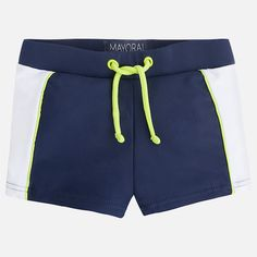 Baby boys swim shorts by Mayoral, in yellow and blue. Silky smooth, partially lined. They have elasticated waistbands with a decorative drawstring detail at the front.