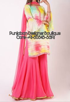 """ Buy Latest design of Designer Sharara Suits Online ."" 👉 CALL US : + 91 - or Whatsapp Designer Sharara Suit Fabric : Tie Die Fabric COLOURS Available In All Colours Fine quality fabric 2018 Latest Punjabi Suits, Designer Punjabi Suits, Indian Designer Outfits, Punjabi Wedding Suit, Punjabi Suits Party Wear, Chandigarh, Ladies Suit Design, Garara Suit, Punjabi Suits Online Shopping"