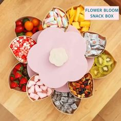 Product Name MICCK Petal-Shape Rotating Snack Box Candy Tray Food Storage Box Wedding Candy Plates Double-deck Dried Fruit Organizer Storage. Food Storage Boxes, Plastic Box Storage, Storage Containers, Deck Storage, Cheap Storage, Candy Buffet, Candy Dishes, Candy Table, Candy Flowers