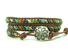 Multicolored Super Duo Beads Leather Wrap Bracelet by jlktreasures