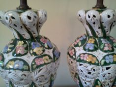 (2) Vintage Capodimonte Floral Table Lamps Dark Green Floral with pierced base