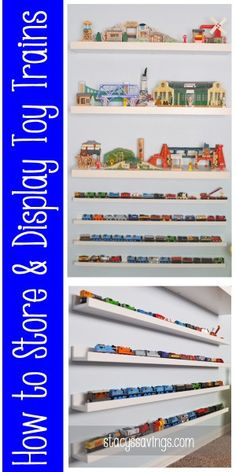 Toy Train Display Pin from Stacy's Savings Ikea Picture Ledge, Train Bedroom, Ikea Pictures, Model Trains, Toy Trains, Train Table, Toy Display, Wooden Train, Thomas The Train