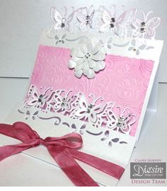 Claire Murphy- Die'sire Every Day Edge'ables Butterfly Dreams - Rose swirl folder, Centura Pearl Snow White Silver, Easy Crystal, Collall All Purpose and 3D Glue Gel - #crafterscompanion