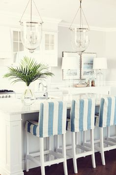 Kitchen Feel Nautical stripes and bright whites give your home a coastal feel. #HomeGoodsHappy