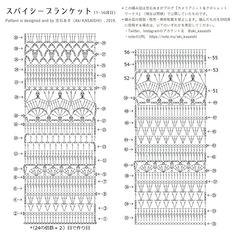 Free Pattern / スパイシーブランケット(Spice of Life Blanket )|笠石あき|note Crochet Diagram, Crochet Chart, Crochet Motif, Scrap Crochet, Diy Crochet, Crochet Ripple Blanket, Crochet Collar, Crochet Tablecloth, Crochet Stitches Patterns