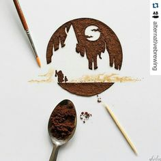 Coffee grounds & coffee stains producing  art by @coffeetopia |  // For more coffee inspirations from Japan visit www.kurasu.me