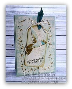 Timeless Hummingbird Tag Card ... something different with this bird - a little arty ;)  Class loved it! Click to Check out my Technique To Go Classes #stampinup #stampalatte #techniqueclass #onlineclass #ornatetag #pictureperfect #timelesstextures #occasions2016