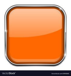 Orange square button shiny icon with metal Vector Image , Buttons For Website, Ui Buttons, Button Game, 3d Icons, Orange Square, Golden Pattern, Metal Screen, Leaf Logo, Game Ui