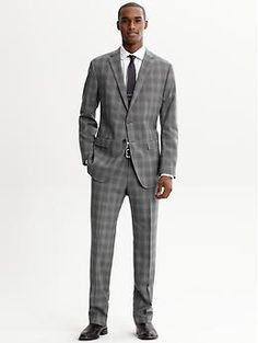 BR Monogram grey plaid Italian wool two-button suit blazer | Banana Republic
