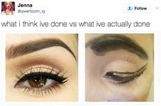 This eyebrow struggle: | 18 Memes For Anyone Who's Slightly Bad At Makeup