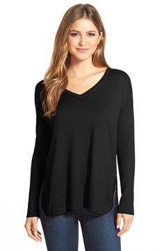 $50 - Vince Camuto Rib Sleeve High/Low V-Neck Sweater