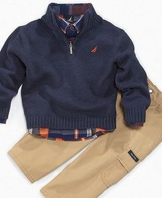 Boys fashion - Colton has this EXACT outfit. I love plaid shirts under quarter zip sweaters, classic