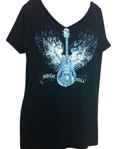 Additionelle Plus Womens Rock N Roll Short Sleeve Tee Black Size 0X Brand Solid  #Additionelle #GraphicTee