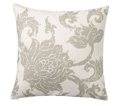 "Three Throw Pillows:  22""SQ Loretta Floral Print Pillow Cover in Celadon| Pottery Barn"