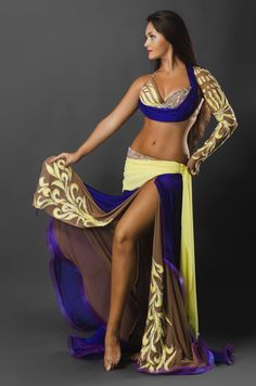 Gold, Brown and blue belly dance costume