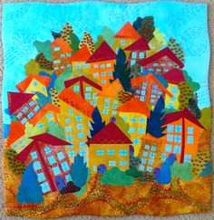 Art Quilt: Hill Village by TabascoCat Art with hand embroidery #quilting #quilt #embroidery