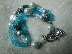 Blue Glass Bead Bracelet with Pearls and Silver Heart Clasp by handmadejewelrybypam on Etsy