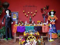 Day of the Dead is a festival of reunion between dead relatives and their living family members - a celebration of life. El Dia de los Muertos occurs just after Halloween, on November 1 (All Saints Day) and November 2 (All Souls Day).  This site list elements for traditional altar.